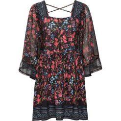 Sukienka bonprix czarny w kwiaty. Niebieskie sukienki rozkloszowane marki bonprix, z nadrukiem. Za 149,99 zł.