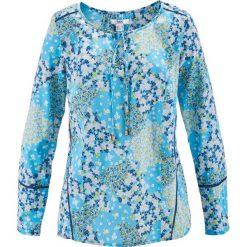 Bluzki damskie: Bluzka z długim rękawem bonprix niebieski z nadrukiem