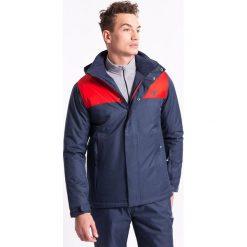 Kurtka narciarska męska KUMN351Z - granatowy melanż - 4F. Niebieskie kurtki męskie pikowane marki 4f, na jesień, m, melanż, z materiału, z kapturem. Za 199,99 zł.