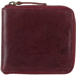 Portfele męskie: Skórzany portfel w kolorze bordowym – 11 x 11 x 2 cm