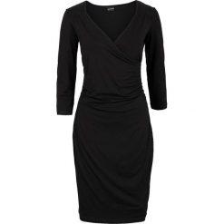 Sukienka bonprix czarny. Brązowe sukienki dzianinowe marki Mohito, l, z kopertowym dekoltem, kopertowe. Za 54,99 zł.