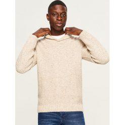 Sweter - Beżowy. Szare swetry klasyczne męskie marki Reserved, l, w paski, z klasycznym kołnierzykiem. Za 159,99 zł.