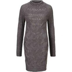 Sukienka dzianinowa z połyskującymi kamieniami bonprix szary melanż. Czarne długie sukienki marki bonprix, w koronkowe wzory. Za 99,99 zł.