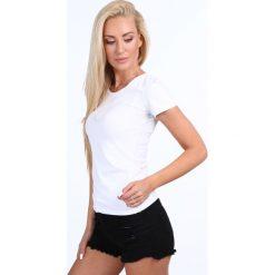 T-shirt dekolt półokrągły biały 724. Białe t-shirty damskie Fasardi, l. Za 39,00 zł.