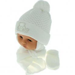 Czapka niemowlęca z szalikiem i rękawiczkami CZ+S+R 011D. Szare czapeczki niemowlęce Proman. Za 45,90 zł.