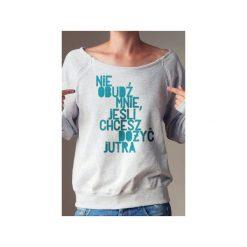 Nie obudź mnie bluza dla matek karmiących. Szare bluzy z nadrukiem damskie marki One mug a day, s, z bawełny. Za 159,00 zł.