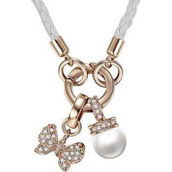 Naszyjniki damskie: Skórzany naszyjnik w kolorze białym z elementem ozdobnym – dł. 60 cm