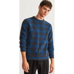 Sweter w kratkę - Niebieski. Szare swetry klasyczne męskie marki Reserved, l, w paski, z klasycznym kołnierzykiem. Za 99,99 zł.
