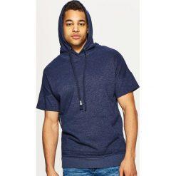 Odzież męska: Bluza kangurka z krótkim rękawem - Granatowy