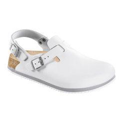 Kapcie damskie: Skórzane chodaki w kolorze białym