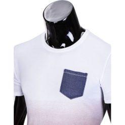 T-shirty męskie: T-SHIRT MĘSKI BEZ NADRUKU S427 – BIAŁY/CZERWONY