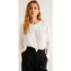 Mango - Bluzka Doty. Szare bluzki wizytowe Mango, l, z tkaniny, eleganckie, z okrągłym kołnierzem. Za 119,90 zł.