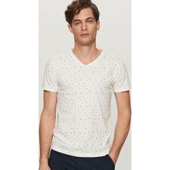 T-shirty męskie: T-shirt z mikrowzorem – Kremowy