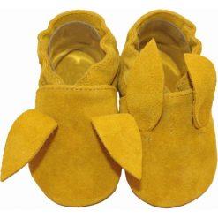 Buciki niemowlęce: SKÓRZANE BUCIKI baBice żółty króliczek