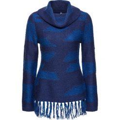 Golfy damskie: Sweter z frędzlami bonprix niebieski w paski