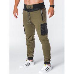 SPODNIE MĘSKIE DRESOWE P645 - KHAKI. Czarne spodnie dresowe męskie marki Ombre Clothing, m, z bawełny, z kapturem. Za 69,00 zł.
