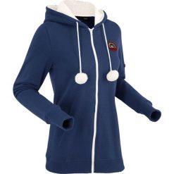 Bluza rozpinana z kapturem na podszewce z miękkiego polaru, długi rękaw bonprix kobaltowy. Niebieskie bluzy polarowe bonprix, w prążki, z długim rękawem, długie, z kapturem. Za 129,99 zł.