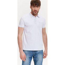 T-SHIRT MĘSKI POLO W PASKI. Szare koszulki polo Top Secret, na jesień, m, w paski, z bawełny. Za 39,99 zł.