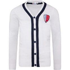 """Swetry rozpinane męskie: Kardigan """"Faro"""" w kolorze białym"""