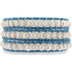 Bransoletki damskie: Skórzana bransoletka w kolorze niebieskim z perłami słodkowodnymi