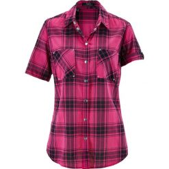 Bluzka, krótki rękaw bonprix różowo-czarny w kratę. Czerwone bluzki damskie bonprix, z krótkim rękawem. Za 54,99 zł.