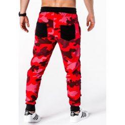 SPODNIE MĘSKIE DRESOWE P665 - CZERWONE. Czerwone spodnie dresowe męskie Ombre Clothing, z bawełny. Za 65,00 zł.