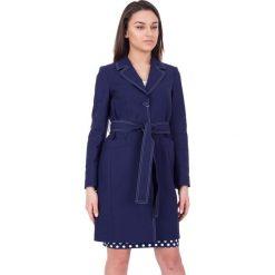 Płaszcze damskie pastelowe: Elegancki granatowy płaszcz z podszewką  BIALCON