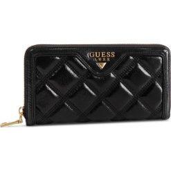 Duży Portfel Damski GUESS - SWSASH L9146 BLA. Czarne portfele damskie Guess, z aplikacjami, ze skóry. Za 519,00 zł.