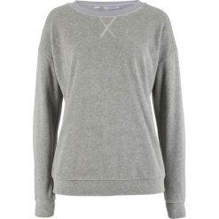 Bluza z dzianiny welurowej nicki bonprix jasnoszary melanż. Szare bluzy damskie bonprix, melanż, z dzianiny. Za 74,99 zł.