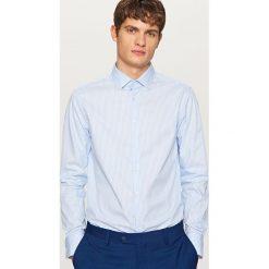 Koszule męskie na spinki: Koszula w paski slim fit – Niebieski