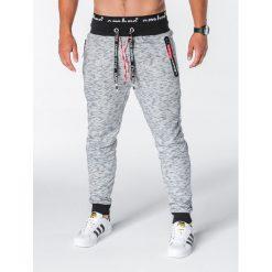 SPODNIE MĘSKIE DRESOWE P638 - SZARE. Szare spodnie dresowe męskie Ombre Clothing, z bawełny. Za 55,00 zł.