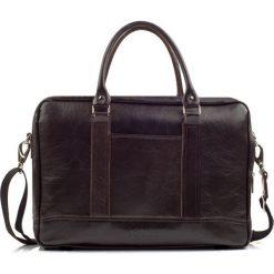 Elegancka Męska torba ze skóry na ramię RUSSEL brąz ciemny. Brązowe torby na ramię męskie marki Solier, w paski, ze skóry. Za 499,00 zł.