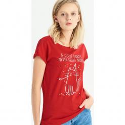 T-shirt z kocim motywem - Czerwony. Czerwone t-shirty damskie Sinsay, l. Za 14,99 zł.