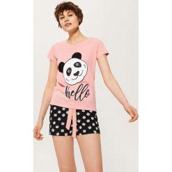 Piżamy damskie: Dwuczęściowa piżama z pandą – Wielobarwn