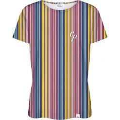 Bluzki, topy, tuniki: Colour Pleasure Koszulka damska CP-030 264 niebiesko-żółta r. XL/XXL