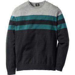 Swetry męskie: Sweter Regular Fit bonprix szary melanż – niebieskozielony w paski