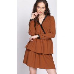 Jasnobrązowa Sukienka Deep Love. Brązowe sukienki hiszpanki Born2be, na lato, s, wizytowe. Za 79,99 zł.
