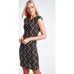 Sukienki hiszpanki: Złota Sukienka Brokatowa 9473