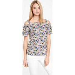 Koszulka z odkrytymi rękawami z dżerseju slinky. Szare t-shirty damskie Taifun, z nadrukiem, z dżerseju, z krótkim rękawem. Za 69,95 zł.