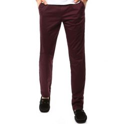 Chinosy męskie: Spodnie męskie chinos bordowe (ux1098)