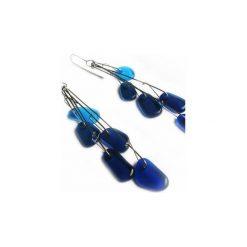 Niebieskie kolczyki ze szkła i stali Droplett. Niebieskie kolczyki damskie Projekt mosko, szklane. Za 129,00 zł.