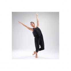 Kombinezon na rozgrzewkę do tańca damski. Czarne kombinezony eleganckie marki DOMYOS, z elastanu, z klasycznym kołnierzykiem. Za 99,99 zł.