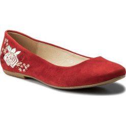 Baleriny BALDACCINI - 786900-A Czerwony Zamsz. Czerwone baleriny damskie lakierowane Baldaccini, ze skóry, na płaskiej podeszwie. W wyprzedaży za 169,00 zł.