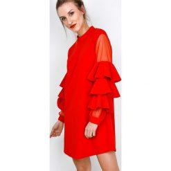 Sukienki balowe: Sukienka z siateczką na bufiastych rękawach