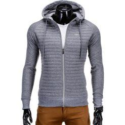 Bluzy męskie: BLUZA MĘSKA ROZPINANA Z KAPTUREM B637 – SZARA