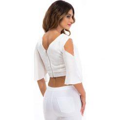 Kremowa błyszcząca bluzka 21406. Białe bluzki na imprezę Fasardi, l. Za 59,00 zł.