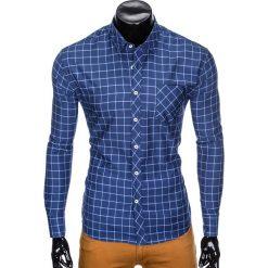 KOSZULA MĘSKA W KRATĘ Z DŁUGIM RĘKAWEM K417 - GRANATOWA/BŁĘKITNA. Niebieskie koszule męskie na spinki Ombre Clothing, m, z długim rękawem. Za 49,00 zł.