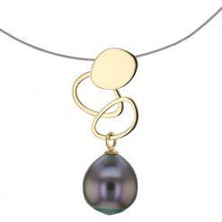 Naszyjniki damskie: Naszyjnik ze złotą zawieszką z perłą Tahiti – (D)40 cm