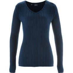 Swetry klasyczne damskie: Sweter w prążek bonprix ciemnoniebieski