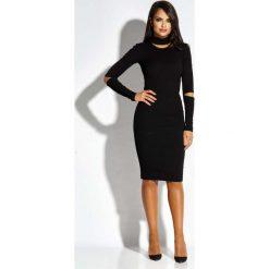 Czarna Sukienka Ołówkowa z Wycięciami. Czarne długie sukienki Molly.pl, do pracy, l, z tkaniny, biznesowe, z długim rękawem, dopasowane. Za 229,90 zł.
